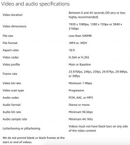 Amazon Video Ad Specs